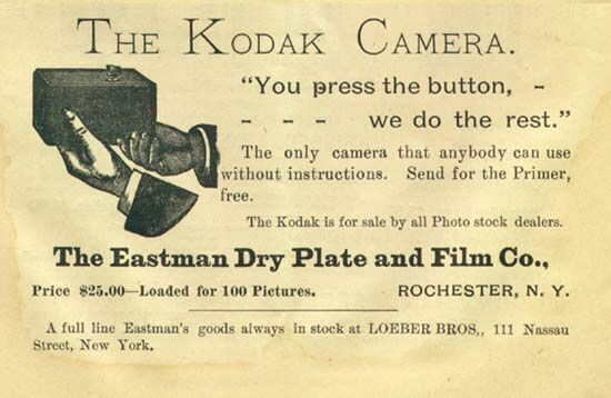 An 1889 Kodak advertisement. Image via Wikimedia Commons.