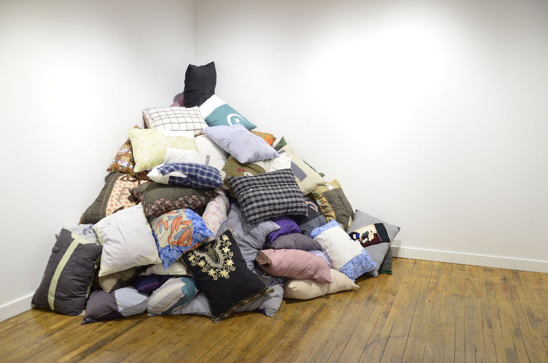 DÍAZ LEWIS 34,000 Pillows, (2016 – ongoing). Pillows comprised of used and donated clothing. Approximately 20 X 27 inches each.