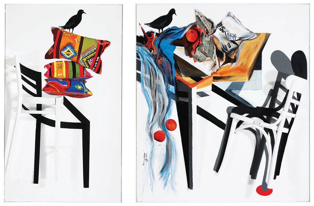 Left: Jumana Jaber, Inheritance. Right: Jumana Jaber, Chaos.Images courtesy of Christie's.