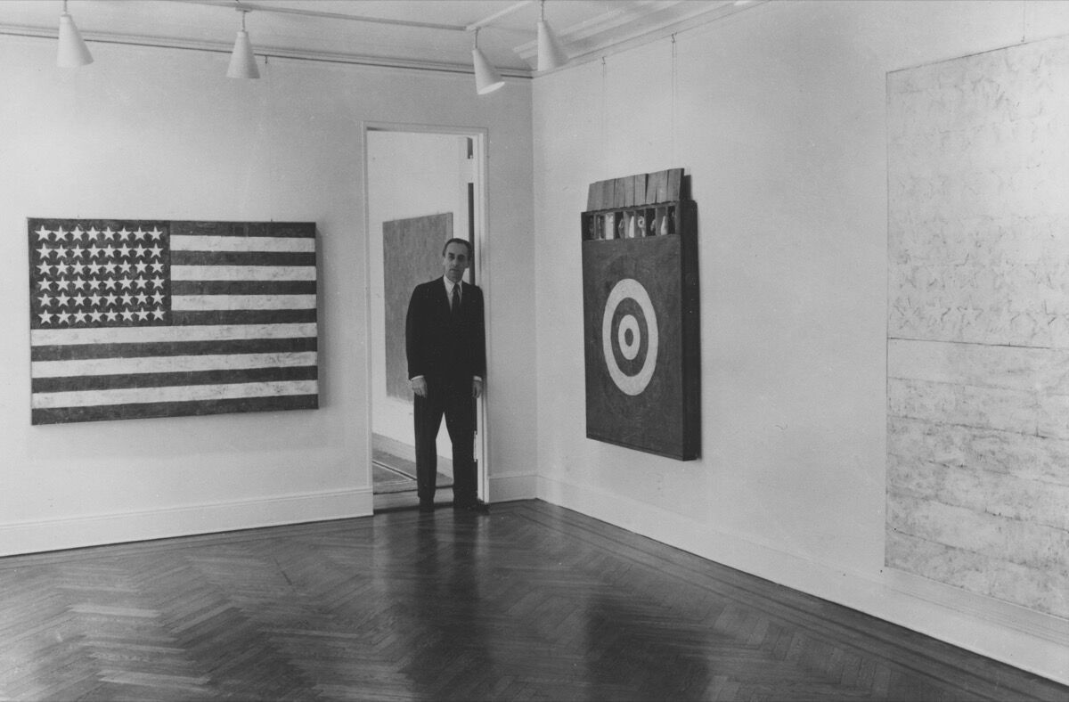 Leo Castelli at a Jasper Johns exhibition at Castelli Gallery, 1958. Courtesy of Castelli Gallery.