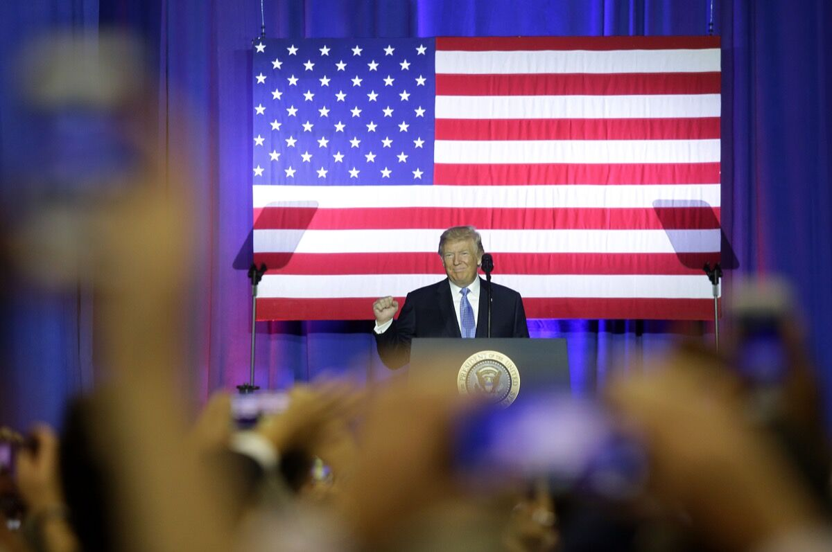 President Donald Trump addresses supporters as he speaks at the Indiana State Fairgrounds & Event Center September 27, 2017 in Indianapolis, Indiana. Trump spoke about the proposed Republican tax reform plan. Photo by Joshua Lott/Getty Images.