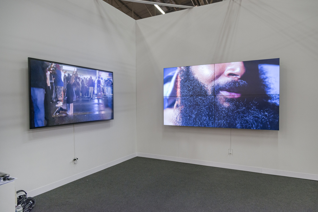 Installation view of works by Mario Pfeifer at KOW's booth at The Armory Show, 2016. Photo by Adam Reich for Artsy.