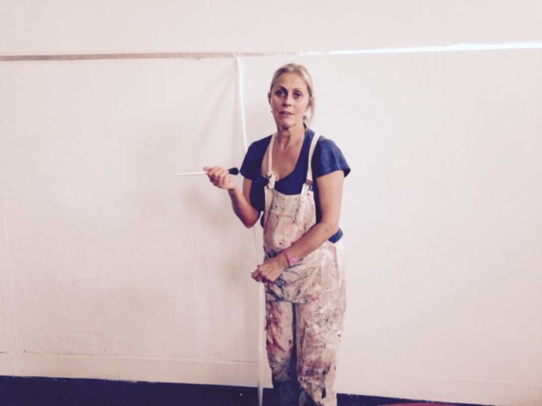 """Naomi Siderfin installing """"Harnessing the Wind"""", Beaconsfield Gallery Vauxhall, October 2015."""