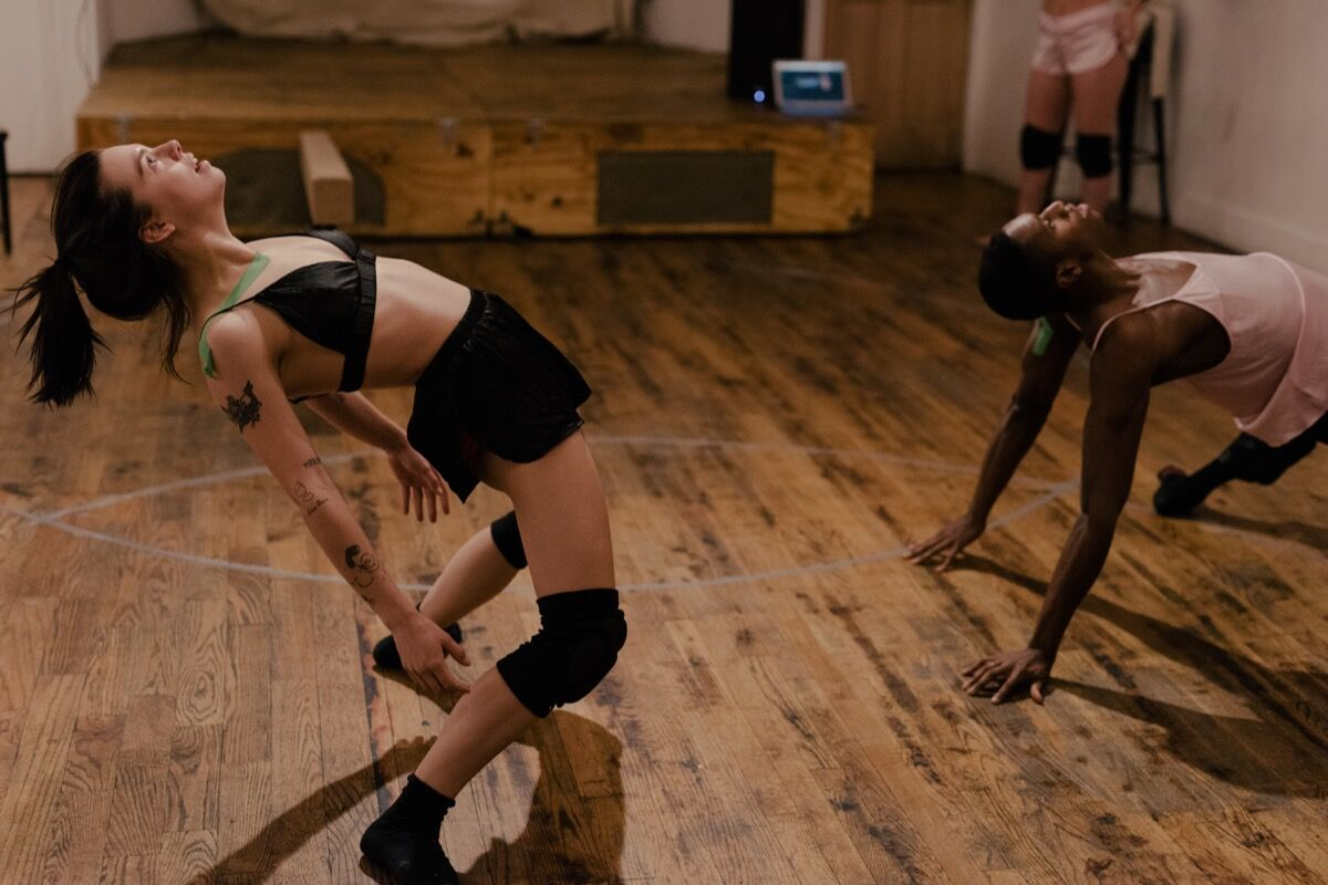 Jes Nelson and Quenton Stuckey during a FlucT rehearsal. Photo by Daniel Dorsa for Artsy.