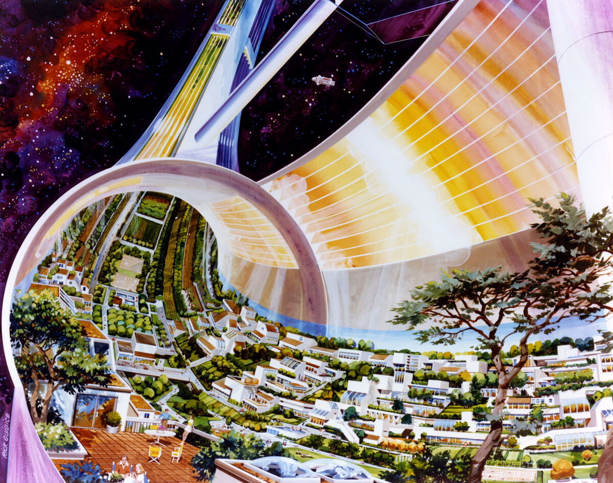 Artist rendering of The Toroidal Colony by Rick Guidice. Courtesy of NASA Ames Research Center via Flickr.