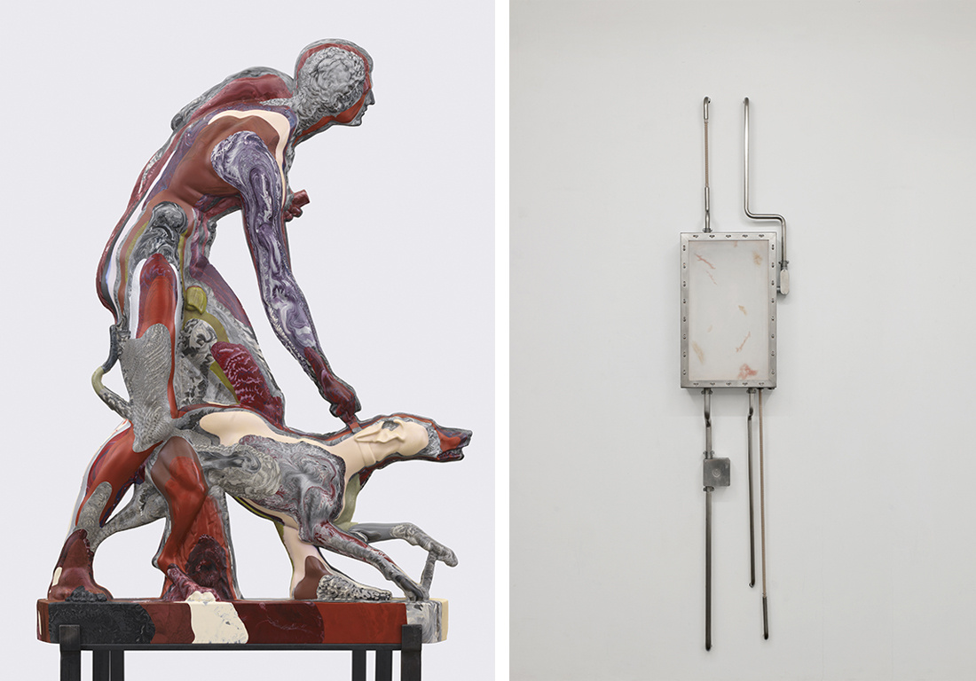 "(left to right) Oliver Laric, The Hunter and His Dog, 2014 (detail). Photo: © Gunter Lepkowski, courtesy Private Collection, Berlin.  Dora Budor, The Architect, Infected at the Bone, 2014. Courtesy of Dora Budor, New Galerie, Paris/New York and Noirmont Art Production, Paris. Both from ""Inhuman"" at the Fridericianum Kassel."
