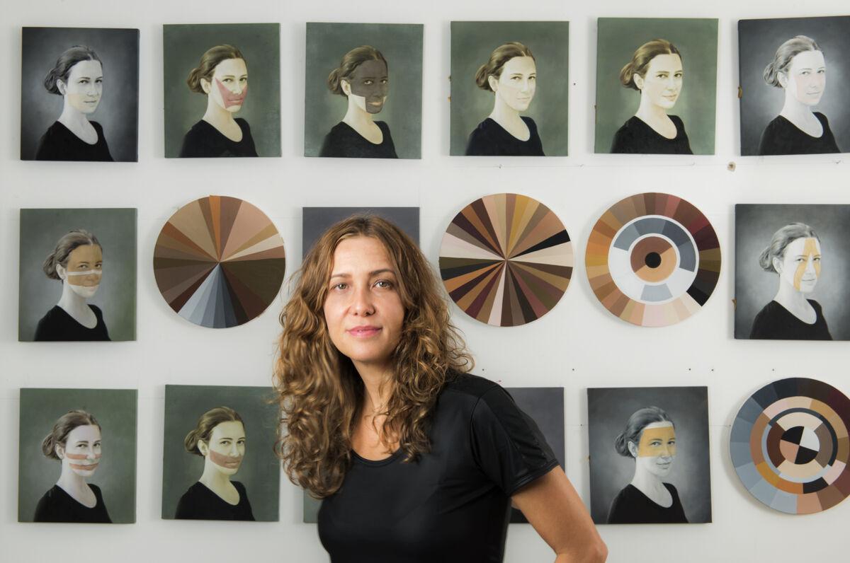 Portrait ofAdriana VarejãobyVicente de Mello.