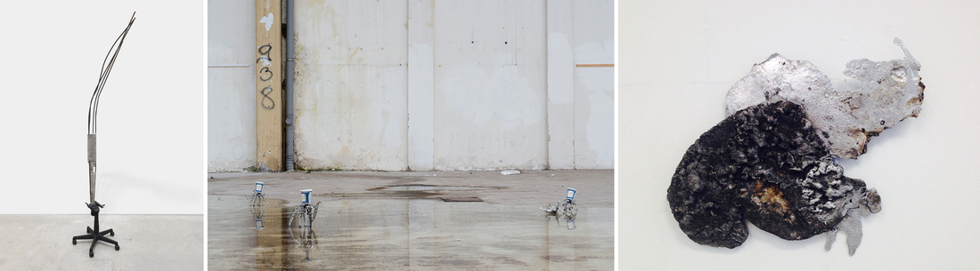 """Images from left: """"With bolts of bones, that fetter'd stands in feet and manacled in hands,"""" 2014. Courtesy the Artist,James Fuentes Gallery and Journal Gallery. Middle: """"It is our pleasure to serve you (or profane words crawled black across the sun),"""" 2015. Courtesy Jan Kaps Gallery. Right: """"Pirate Mirror Milk Cloud,"""" 2015. Courtesy Retrospective Gallery."""