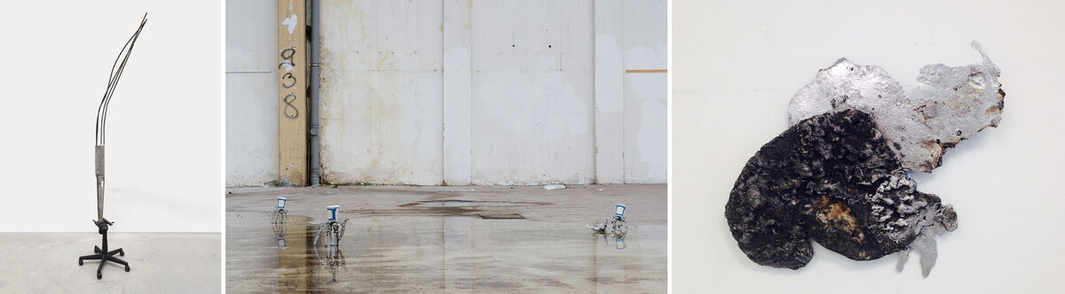 "Images from left: ""With bolts of bones, that fetter'd stands in feet and manacled in hands,"" 2014. Courtesy the Artist, James Fuentes Gallery and Journal Gallery. Middle: ""It is our pleasure to serve you (or profane words crawled black across the sun),"" 2015. Courtesy Jan Kaps Gallery. Right: ""Pirate Mirror Milk Cloud,"" 2015. Courtesy Retrospective Gallery."