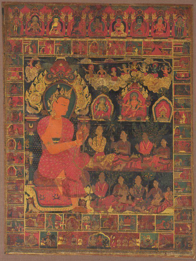 Thangka con la predicación de Buda Bejeweled, 1648, Nepal.  Cortesía del Museo de Arte de Cleveland,