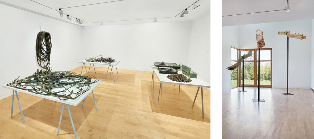 """Right: Installation view of """"David Brooks: Continuous Service Altered Daily."""" Left: Installation view of """"Virginia Overton."""" Photos by Tom Powel Imaging, courtesy of the Aldrich Contemporary Art Museum."""