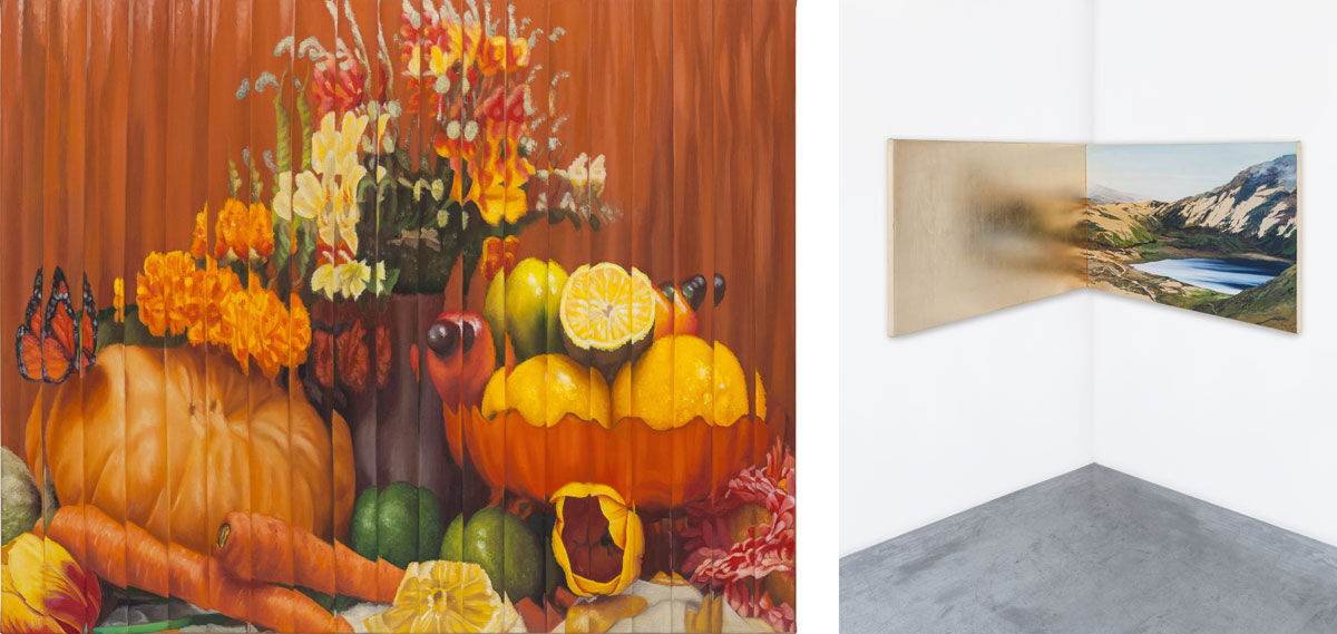 Left: Ana Elisa Egreja, Natureza morta com borboleta, abóbora, caju, flores e laranjas, 2015. Photo by Filipe Berndt, © Galeria Leme. Courtesy of SP-Arte; Right: A su imagen y semejanza, 2015. Photo courtesy of Galeria Leme.