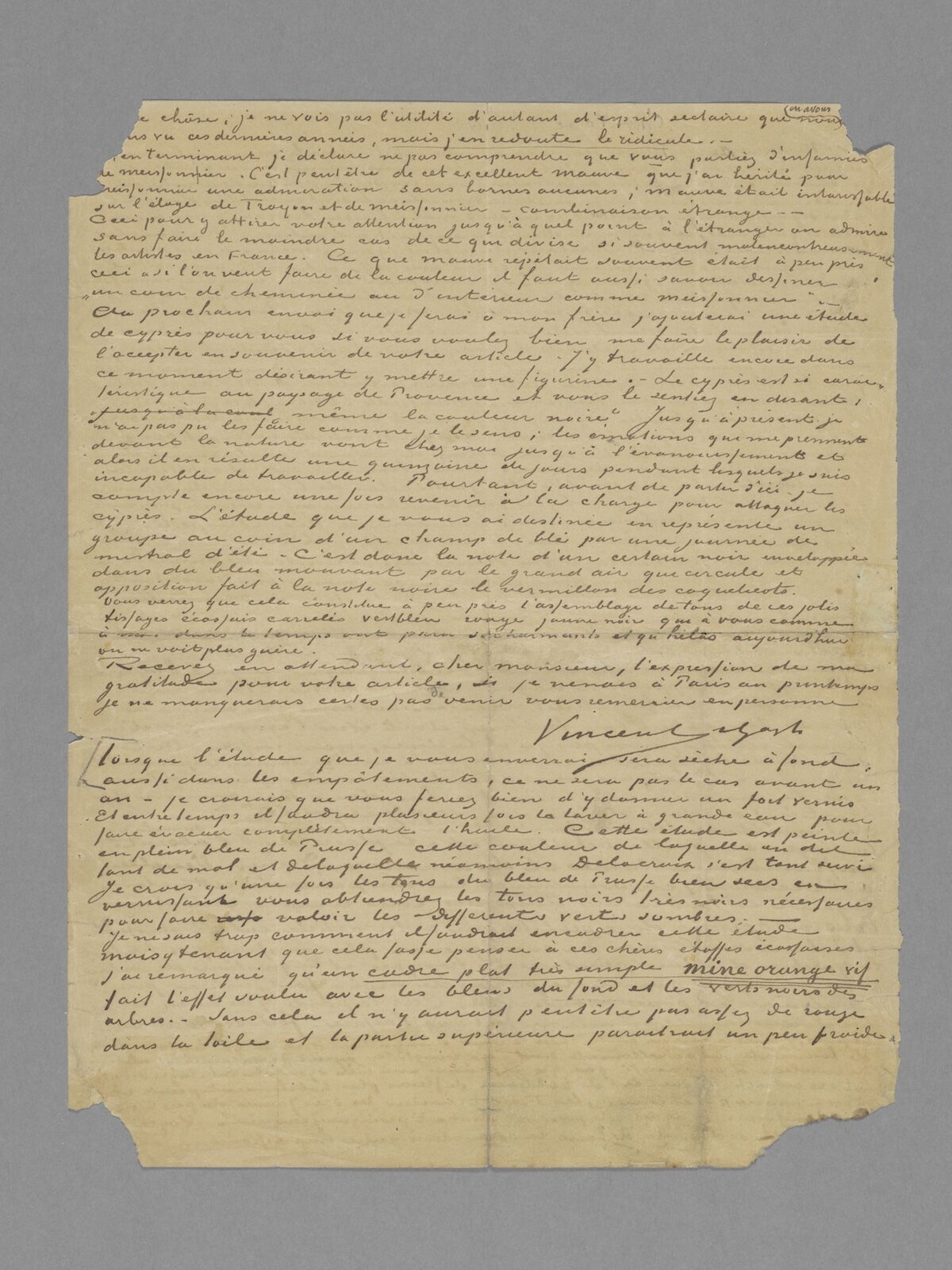 The back  of the letter from Vincent van Gogh to Albert Aurier, 9 or 10 February, 1890. Van Gogh Museum, Amsterdam (gift of Mr and Mrs Cheung Chung Kiu).