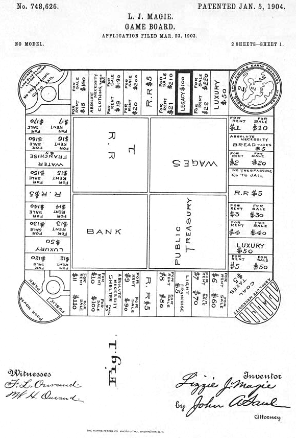 Printed patent drawing for The Landlord's Game by Elizabeth Magie, 1904. Photo via Wikimedia Commons.