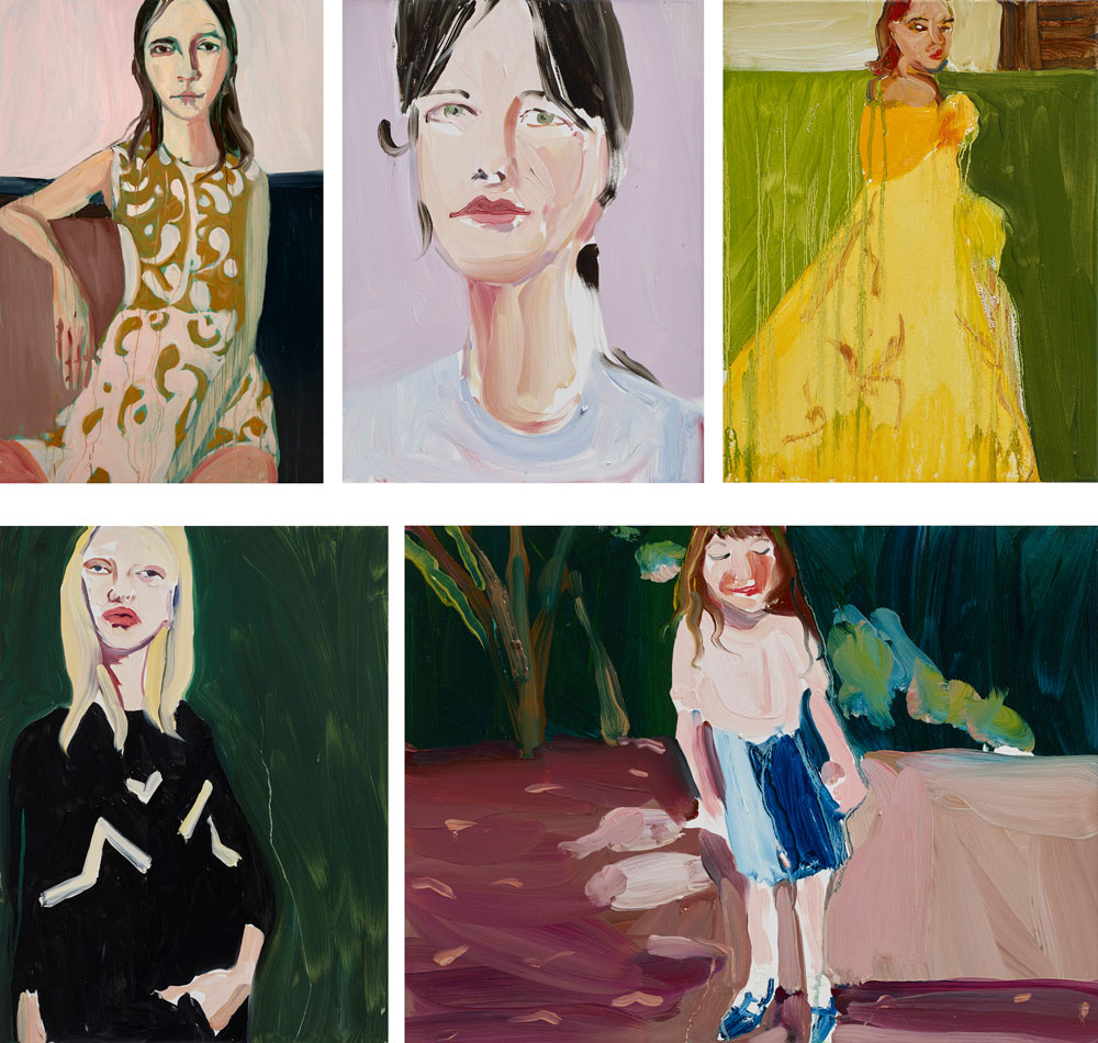 Paintings by Chantal Joffe. Top row: Brocade Dress, 2015; Assia, 2015; Yellow Ballgown, 2015. Bottom row: Blonde in a Black Sweater, 2015; Esme in the Garden, 2015. Courtesy the Artist and Victoria Miro, London. © Chantal Joffe.