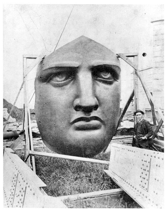 Liberty's face on Liberty Island, waiting to be attached to Statue.