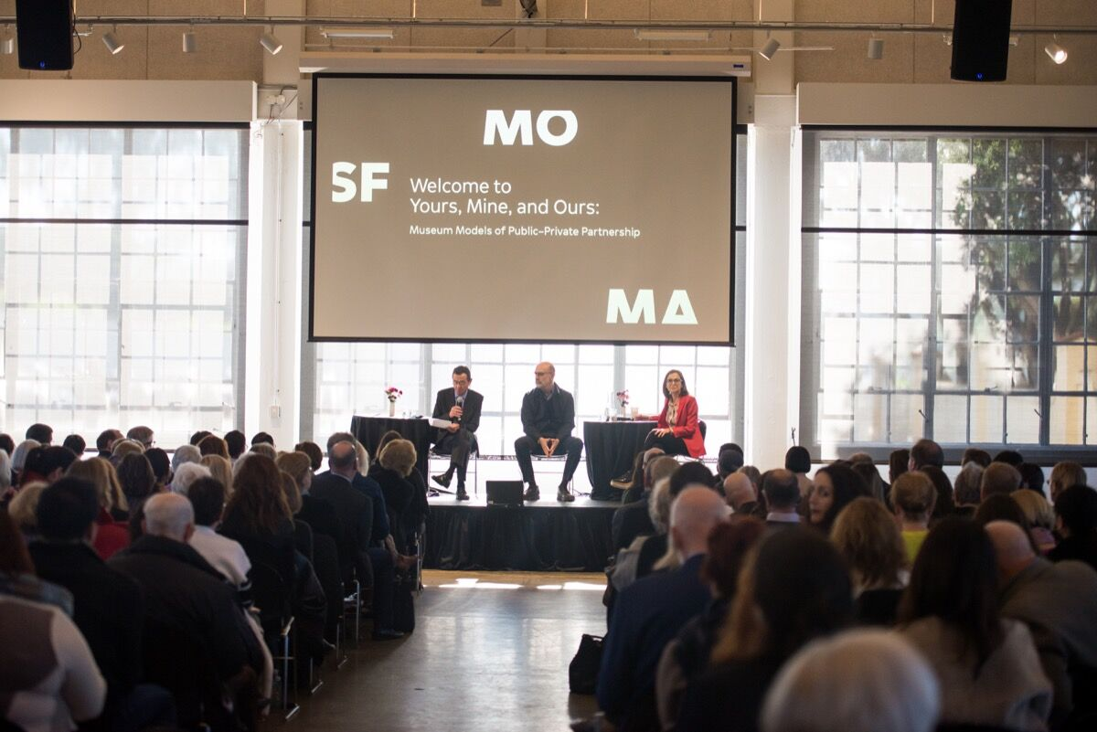 """Neal Benezra, Robert Fisher, and Sarah Thornton at """"Yours, Mine, and Ours."""" Photo by Beth LaBerge, courtesy of SFMOMA."""