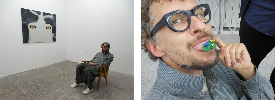 ArtistSebastian Buczek with his work. Photos by Casey Lesser.