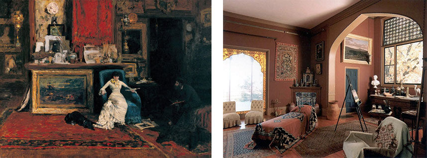 Left: William Merritt Chase, The Tenth Street Studio (1880). Image via Wikimedia Commons; Right: Interior view of Olana. Photo by Mary Alice, via Flickr.