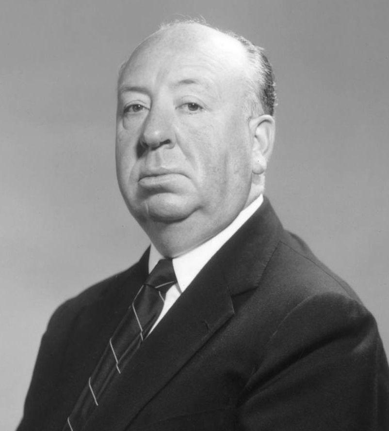 Studio publicity photo of Alfred Hitchcock, 2011, via Wikimedia Commons.