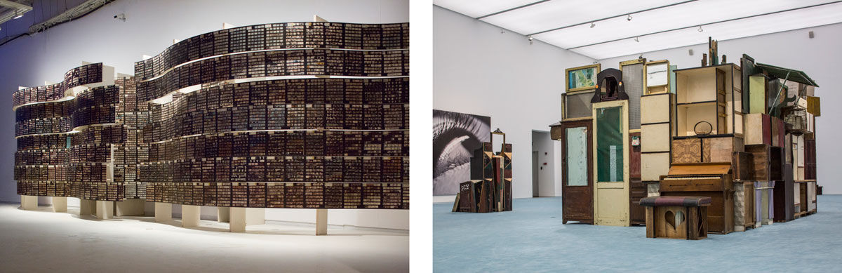 Left: Installation view of Striated Light Infra-curatorial project by Sabih Ahmed, The Ha Bik Chuen Archive, 2016. Photo courtesy of The Ha Family and Asia Art Archive, Hong Kong; Right: Installation view of Wang Haichuan's Seven Days, 2013. Photos courtesy of the Shanghai Biennale.