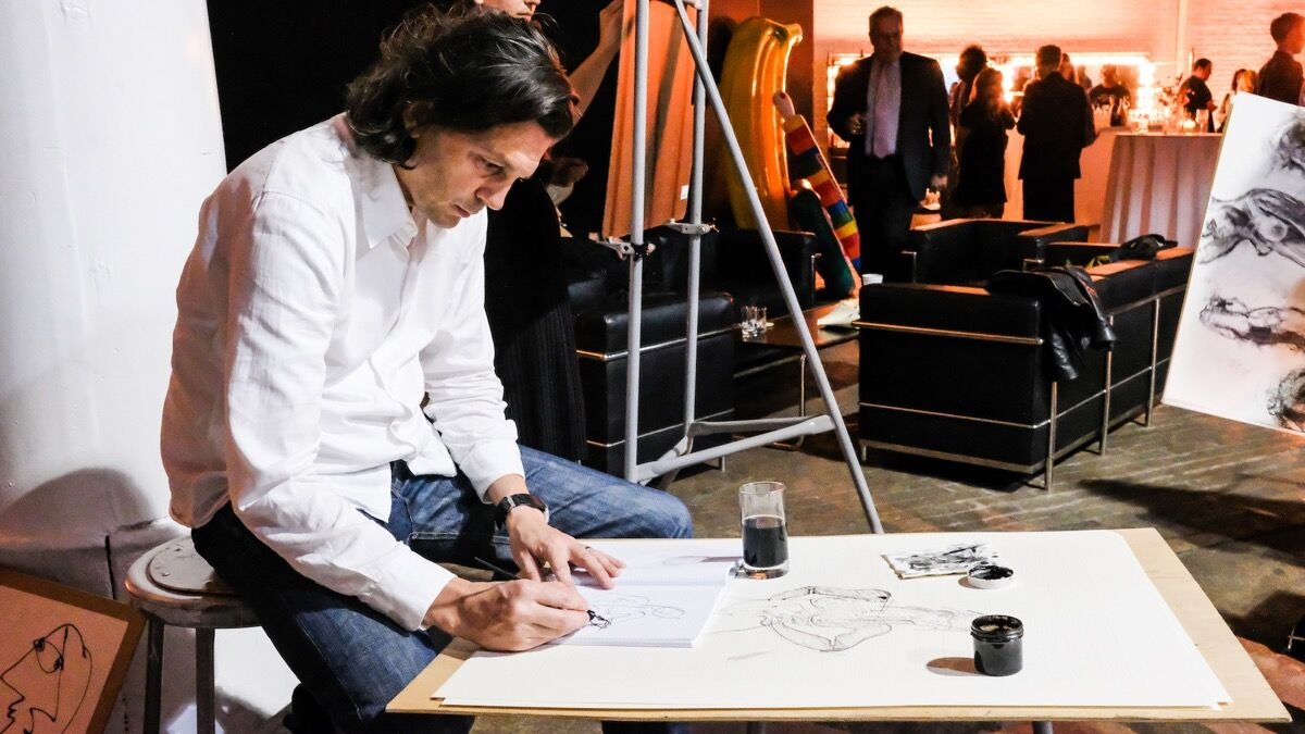 Ryan McGinness at the Will Cotton Drawing Party, 2016. Courtesy of the New York Academy of Art.