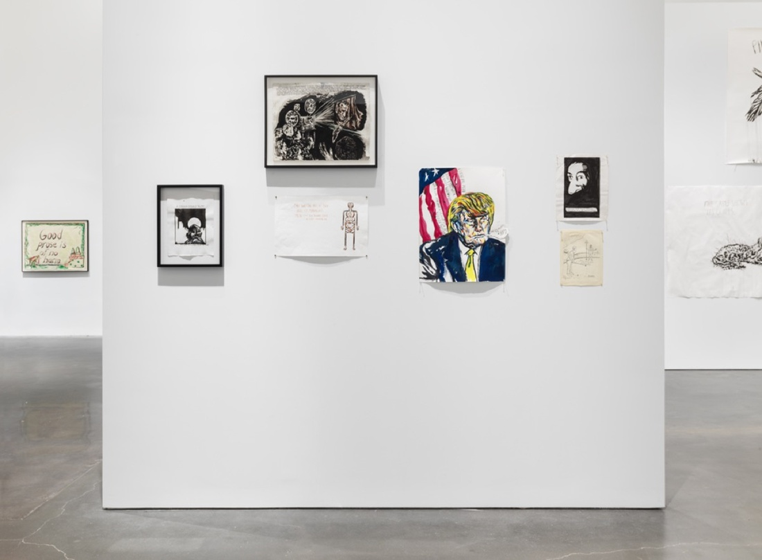 """Installation view of """"Raymond Pettibon: A Pen of All Work,"""" courtesy of the New Museum."""