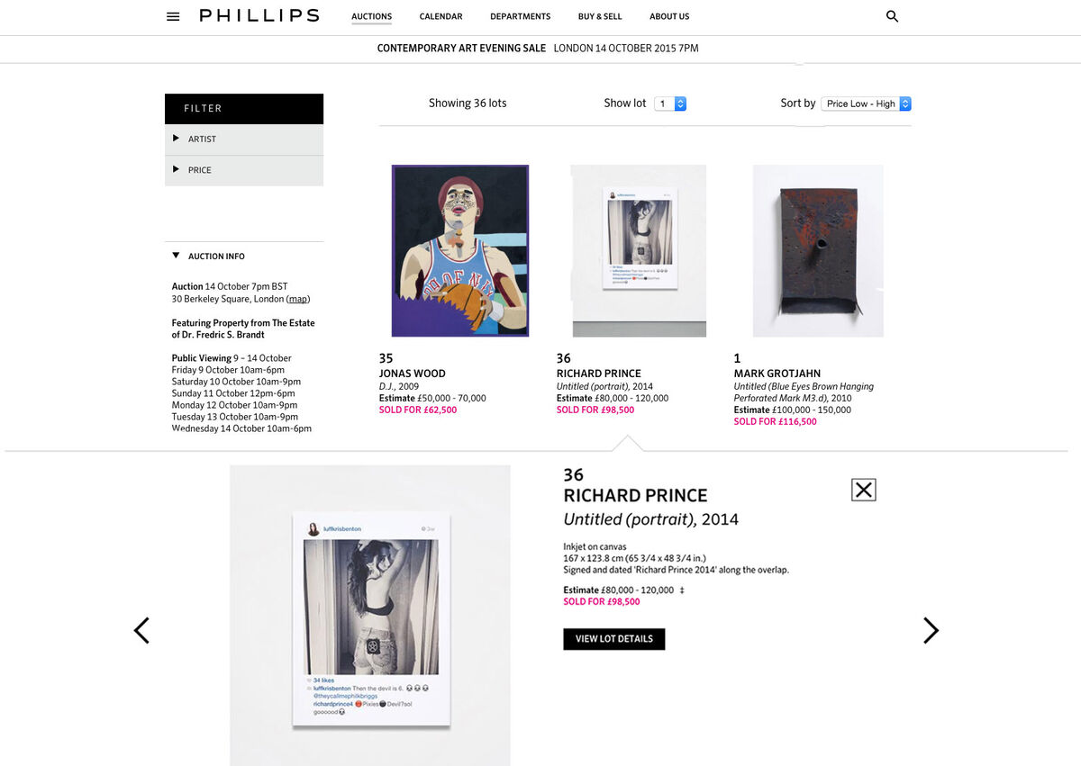 A preview of a recent live auction on Phillips.com.