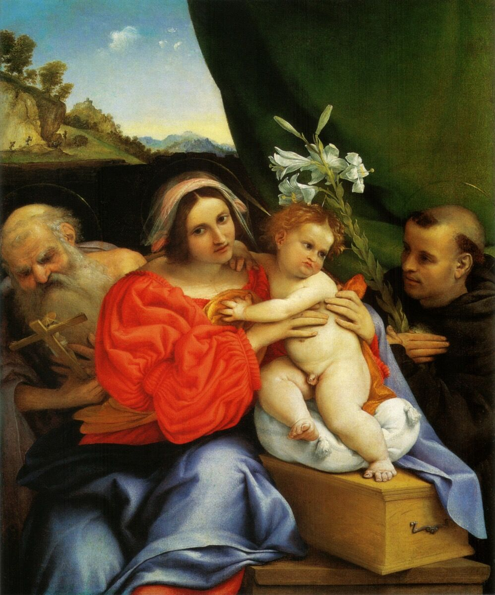 Lorenzo Lotto, Madonna with HI> Hieronymus and Niccolas di Tolentino, 1521. National Gallery, London.