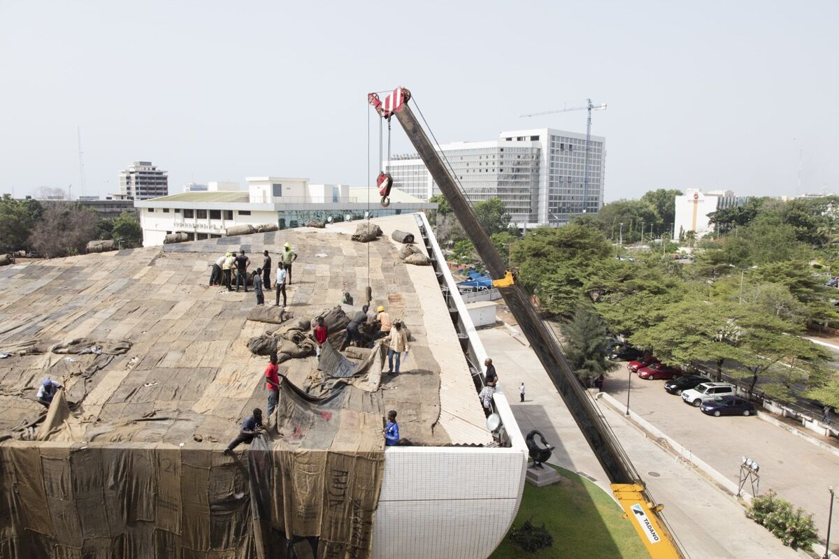Installation of Ibrahim Mahama's work at Accra's National Theatre. Photo courtesy of the artist.