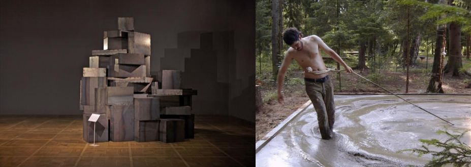 left: the main view of the All Ahead of You installation (2011); right: a shot from Around the Circle performance video documentation (2008). Both images courtesy Cosmoscow