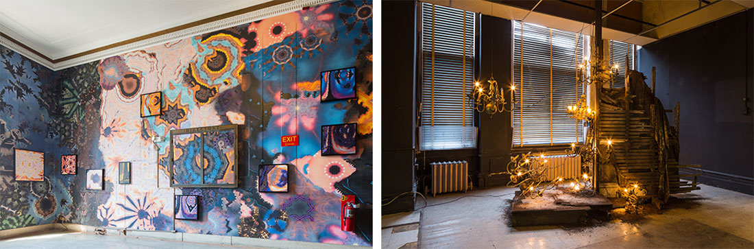 Left:Anne Spalter's installation curated by Elizabeth Keithline; Right: Installation view of Drew Conrad's work, curated by Jac Lahav.Photos courtesy ofSamuel Sachs Morgan and SPRING/BREAK Art Show.