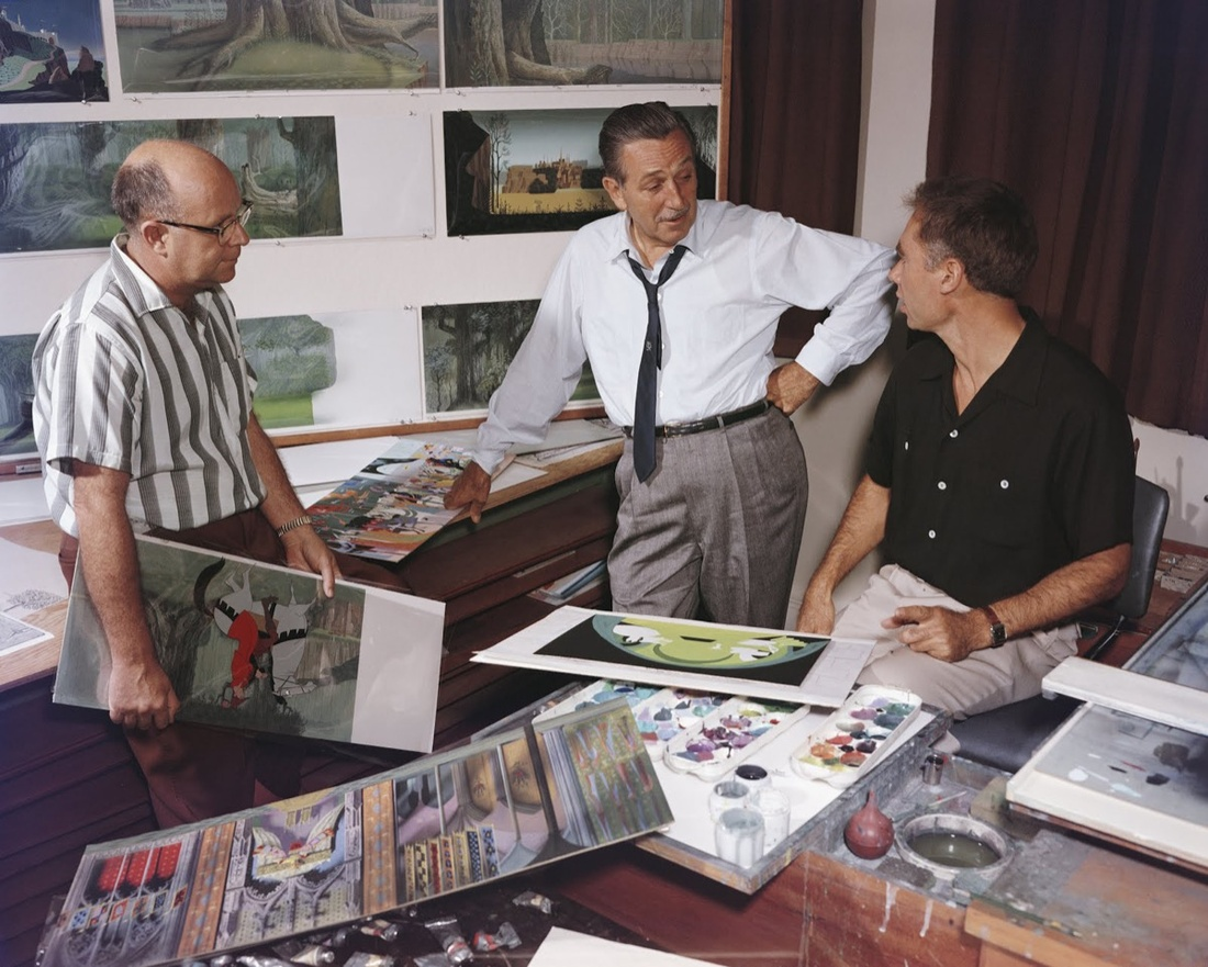 Layout artist McLaren Stewart, Walt Disney, and Eyvind Earle at The Walt Disney Studios during production for Sleeping Beauty, c. 1959. Courtesy of Eyvind Earle Publishing, LLC.