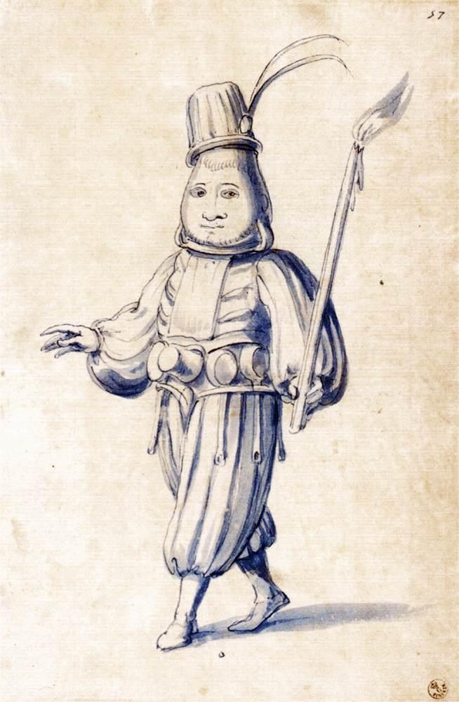 Giuseppe Arcimboldo, Costume drawing of a cook, 1585. Image via Wikimedia Commons.