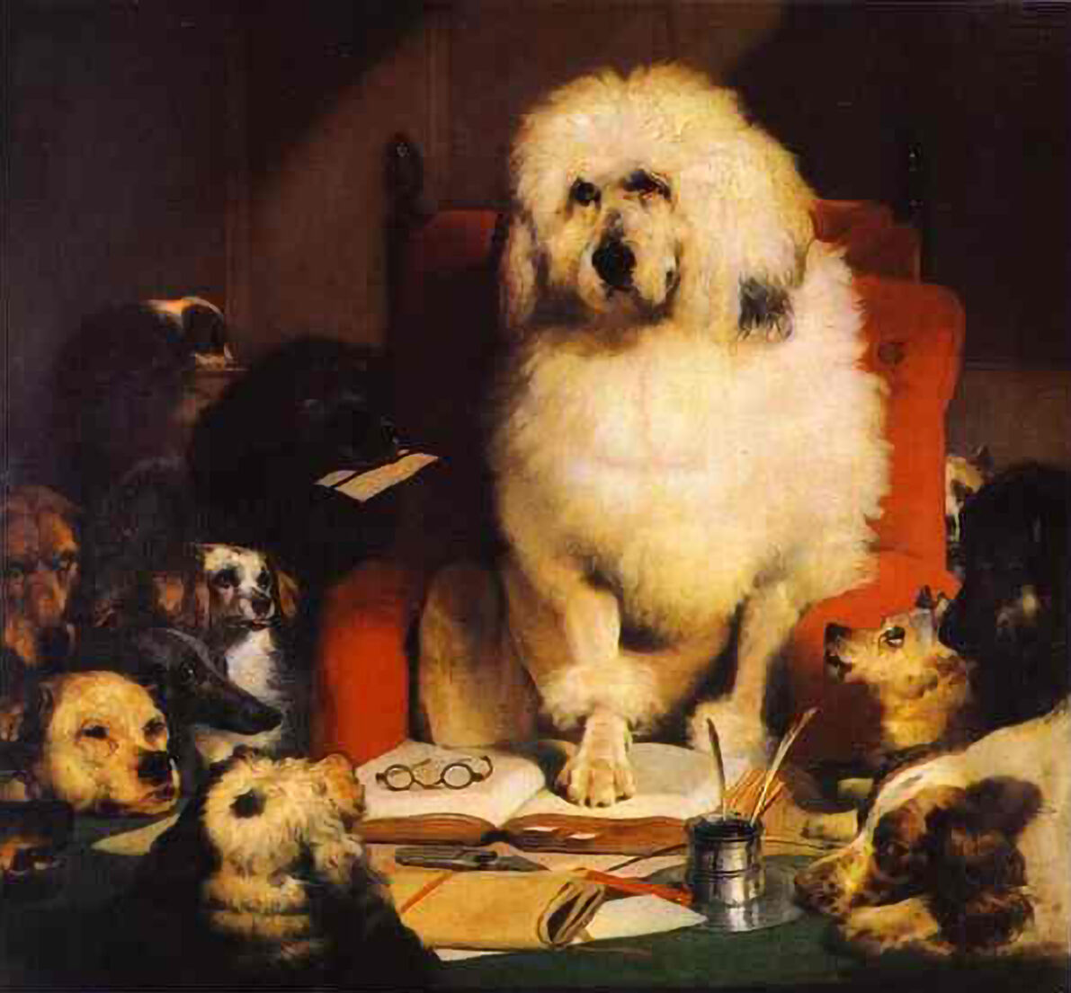 Sir Edwin Landseer, Laying Down the Law, 1840. Photo via Wikimedia Commons.