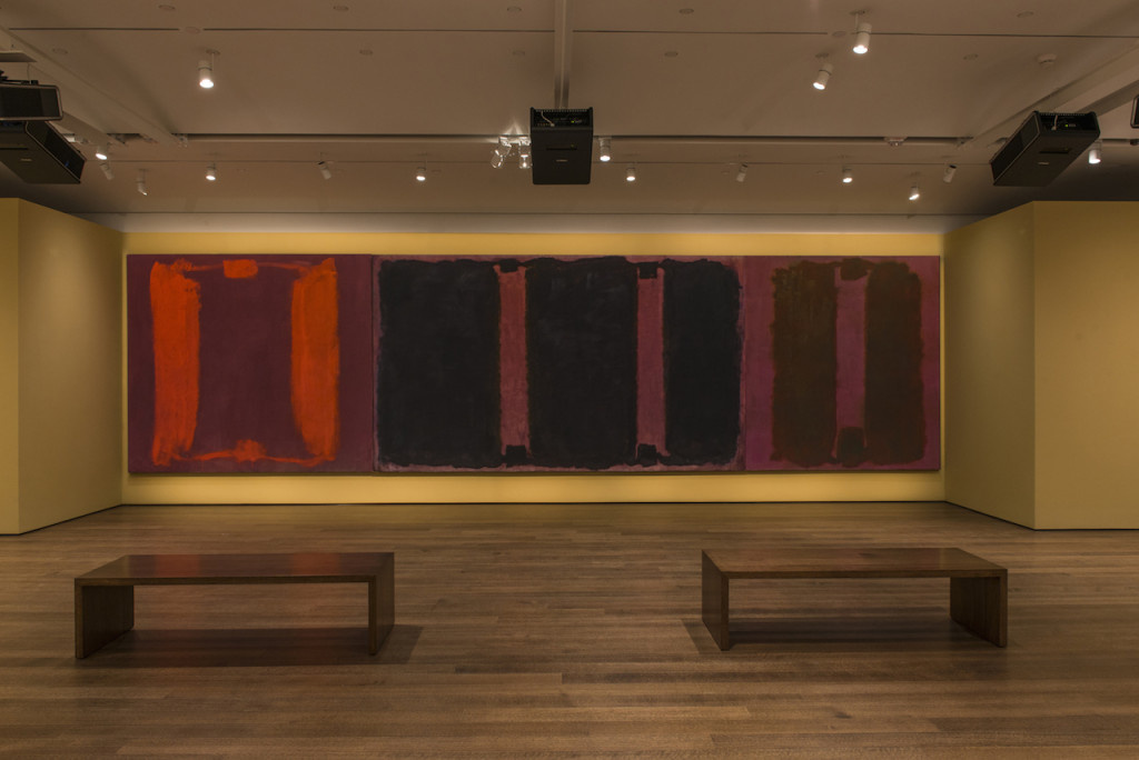 Mark Rothko's Panel One, Panel Two, and Panel Three (Harvard Mural Triptych), with restored colors using light from digital projectors. ©2014 Kate Rothko Prizel and Christopher Rothko/Artists Rights Society (ARS), New York. Photo: Peter Vanderwarker, © President and Fellows of Harvard College.