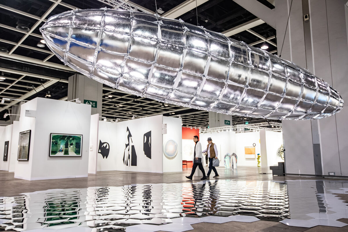 Installation view of Lee Bul, Willing To Be Vulnerable - Metalized Balloon, 2019, at Art Basel Hong Kong, 2019, presented jointly by Lehmann Maupin, PKM gallery, and Galerie Thaddaeus Ropac. Couresty © Art Basel.