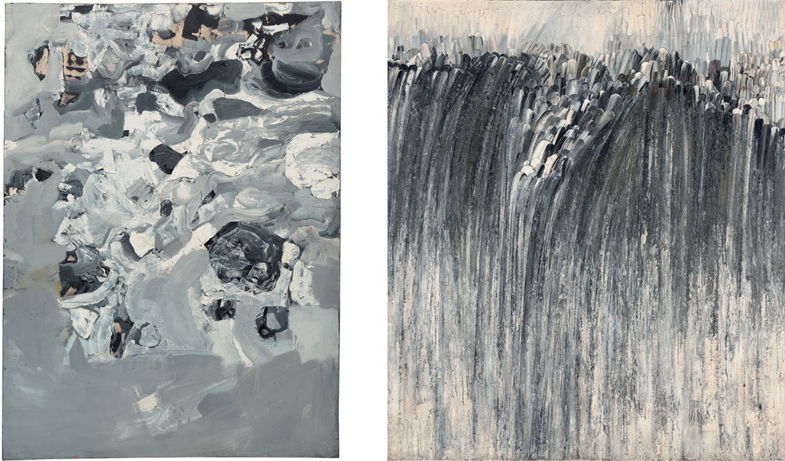 Left: Jay DeFeo,Untitled (Mountainseries – Everest), 1955. © 2016 The Jay DeFeo Foundation/Artists Rights Society (ARS), New York; Right: Jay DeFeo, Origin, 1956. © 2016 The Jay DeFeo Foundation/Artists Rights Society (ARS), New York. Images courtesy of The Jay DeFeo Foundation.