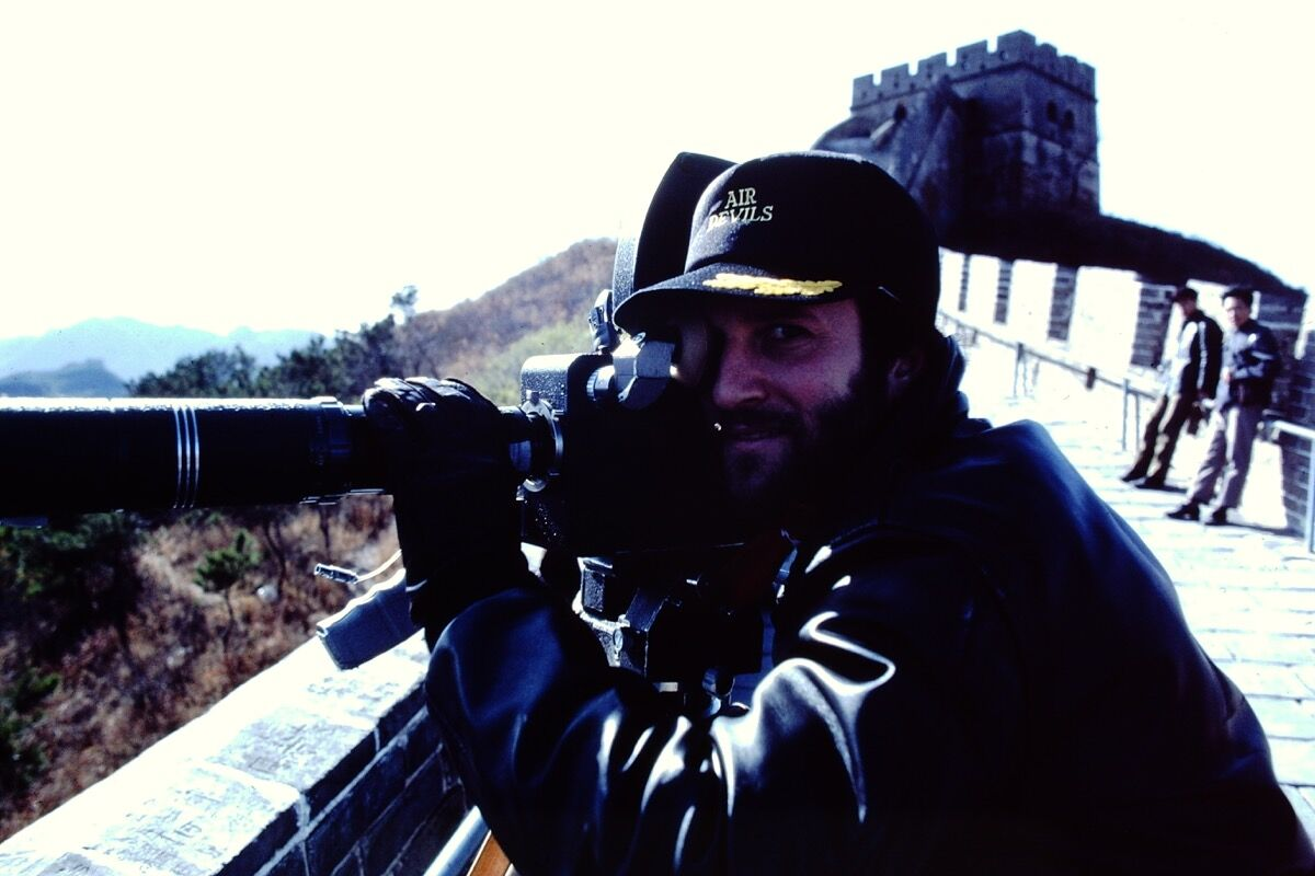 John Alper filming at the Great Wall. Photo © John Alper.