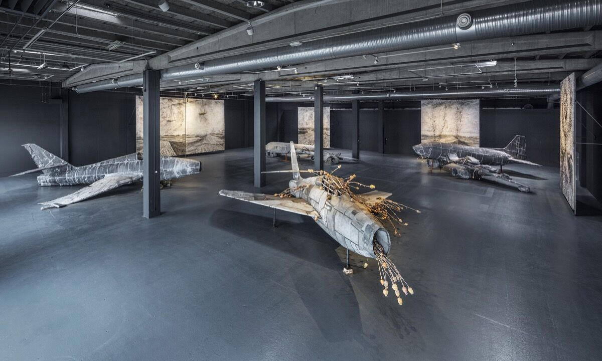 "Anselm Kiefer, installation view of ""For Louis-Ferdinand Céline: Voyage au bout de la nuit,"" Copenhagen Contemporary 2016. Photo by Anders Sune Berg, courtesy of Copenhagen Contemporary."