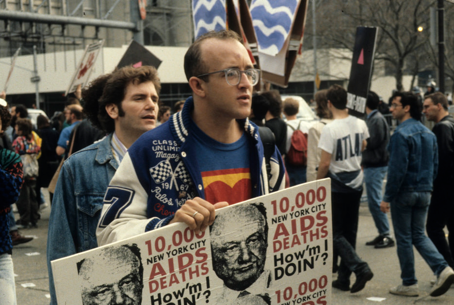 Keith Haring at ACT Up City Hall Protest. Exhibit #31. John Penley Photographs and Papers, Tamiment Library, New York University. Photograph by John Penley. Via Flickr.