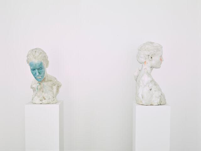 "Installation view of""Virgile Ittah & Kai Yoda: Walking on the beach imitating sand,"" courtesy ofHUS Gallery"
