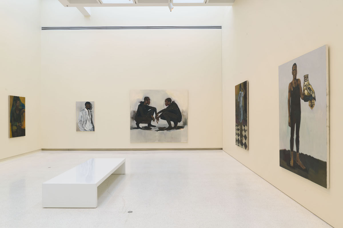 Installation view of works by Lynette Yiadom-Boakye in the 57th Carnegie International. Photo by Bryan Conley. Courtesy the artist, Jack Shainman Gallery, New York, and Corvi-Mora, London.