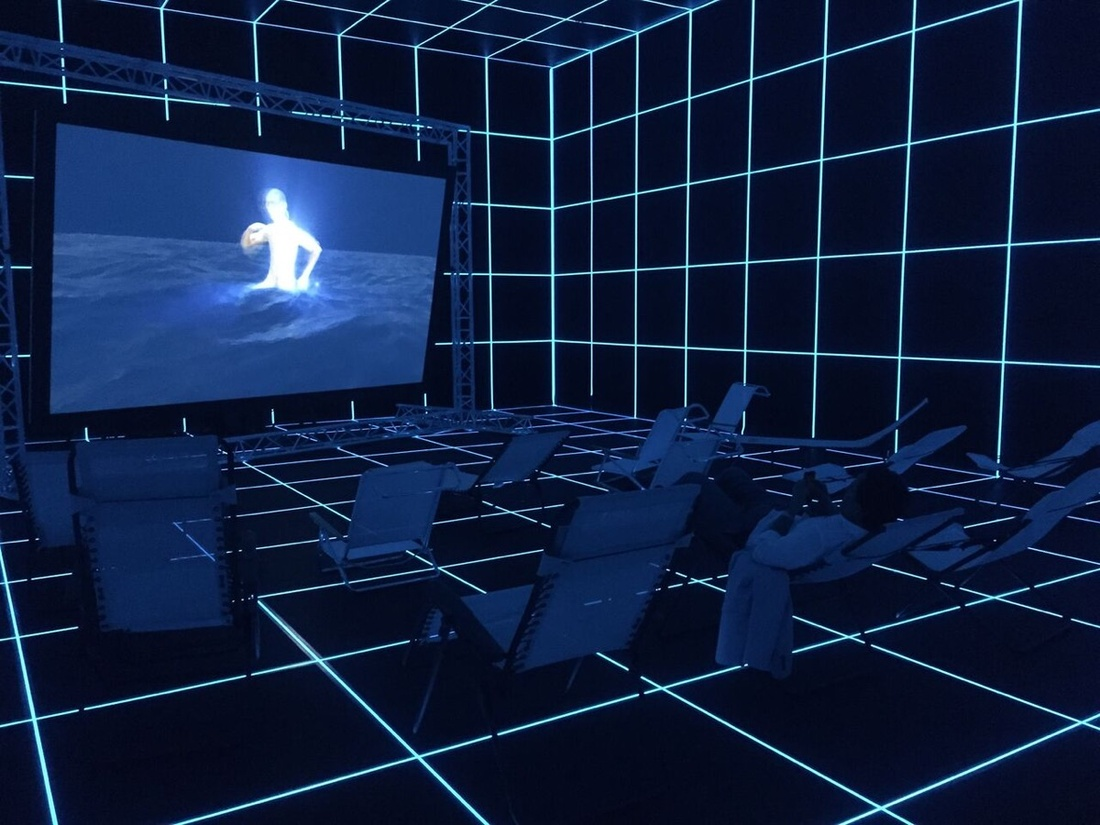 """Installation by Hito Steyerl from """"Invisible Adversaries,"""" June 25 - September 18, 2016.  Hessel Museum of Art, Bard College, Annandale-on-Hudson, NY. Photo by Chris Kendall."""