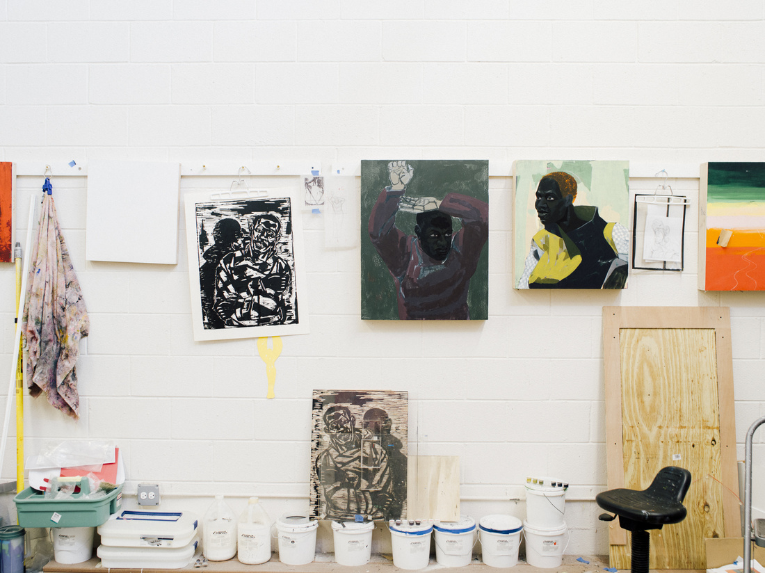 Kerry James Marshall's Bronzeville studio. Photo by Peter Hoffman for Artsy.