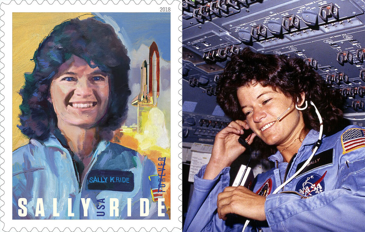 Photo courtesy of USPS. Right: Sally Ride communicates with ground controllers from the flight deck during the six day mission of the Challenger. Photo via Wikimedia Commons.