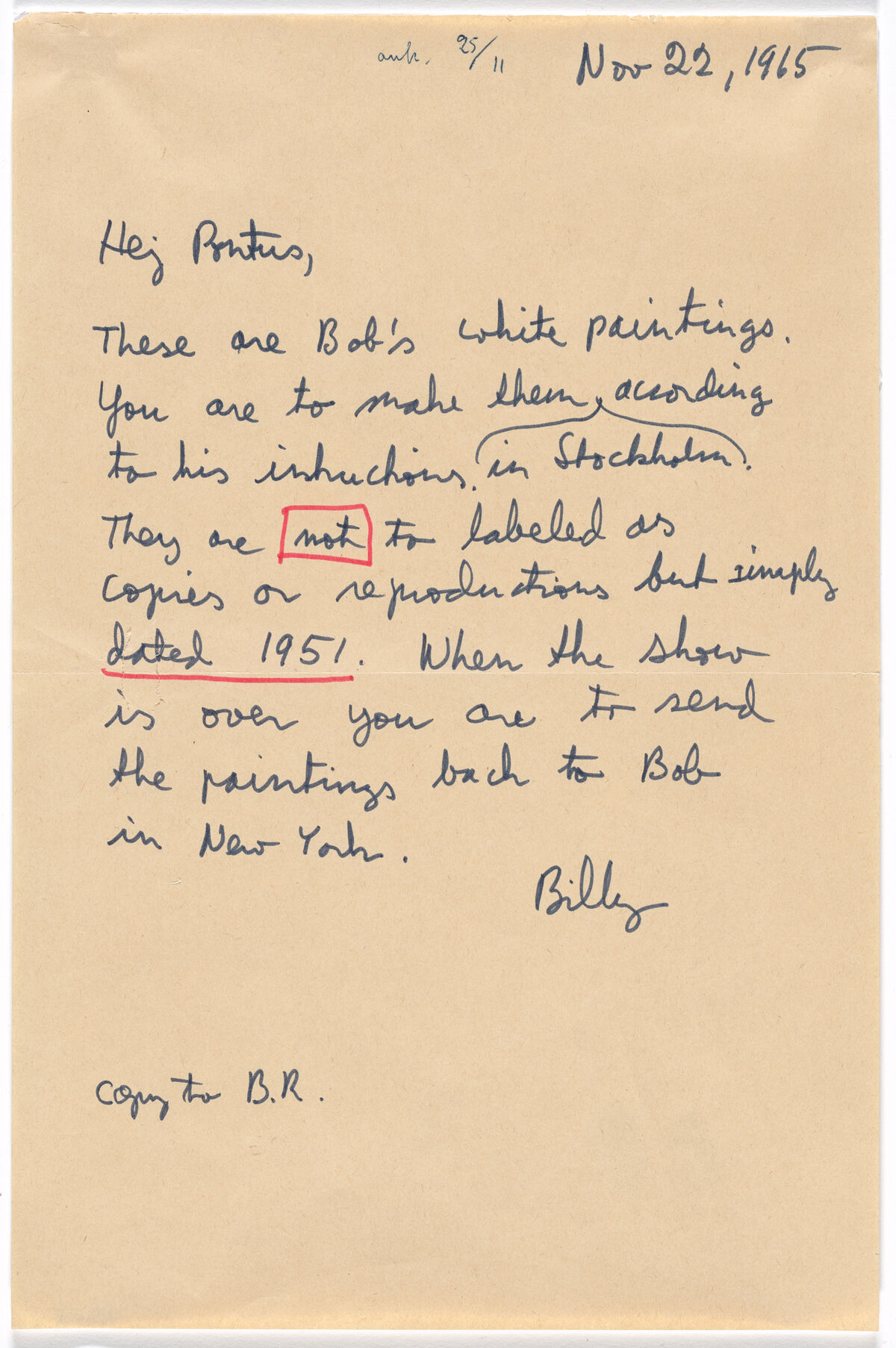 Robert Rauschenberg, Letter from Billy Klüver to Pontus Hulten regarding the fabrication of Rauschenberg's White Paintings- 1951, 1965. © 2019 Robert Rauschenberg Foundation. Courtesy of the Museum of Modern Art.