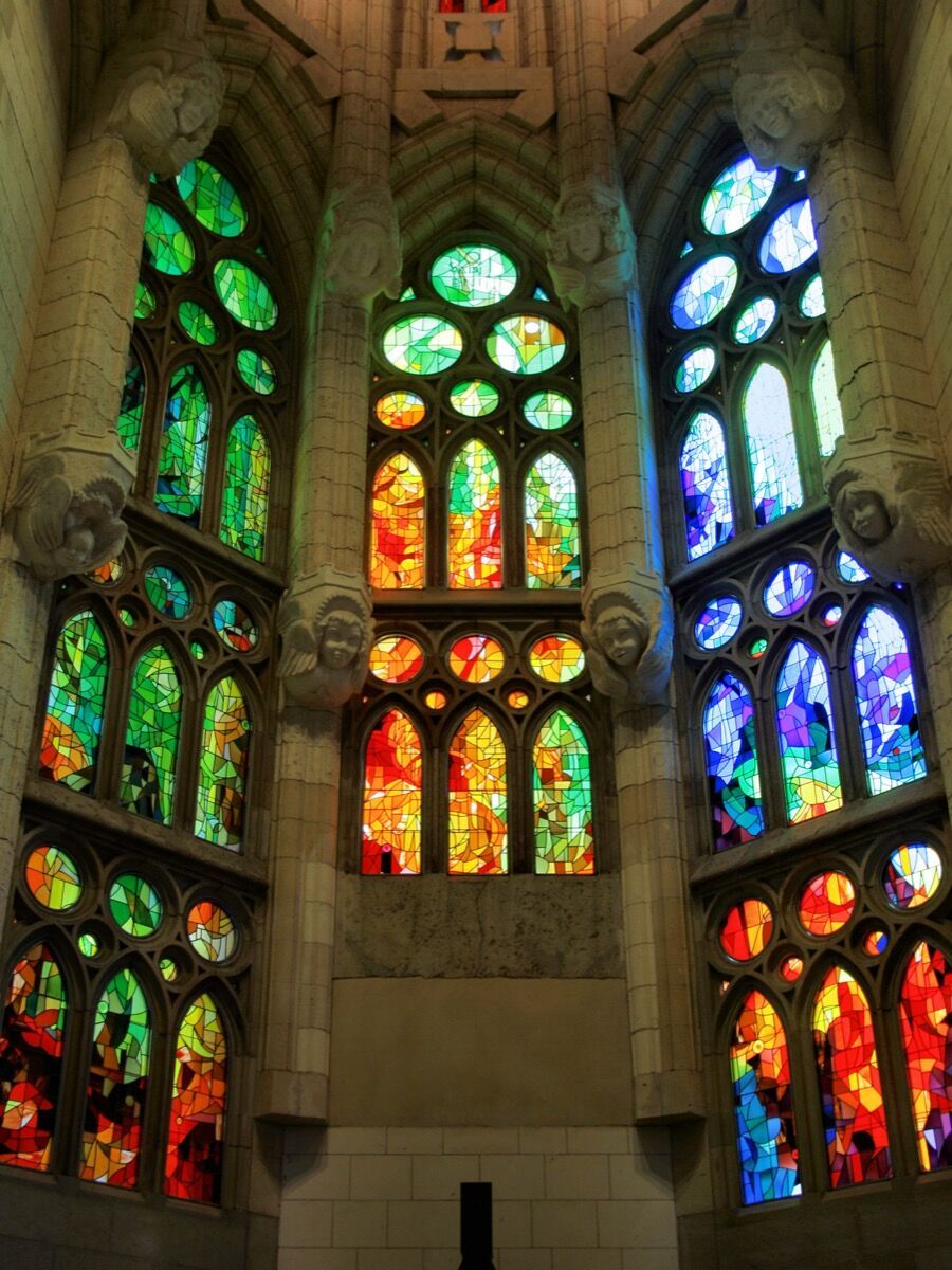 Stained glass at the Sagrada Família. Photo via Wikimedia Commons.
