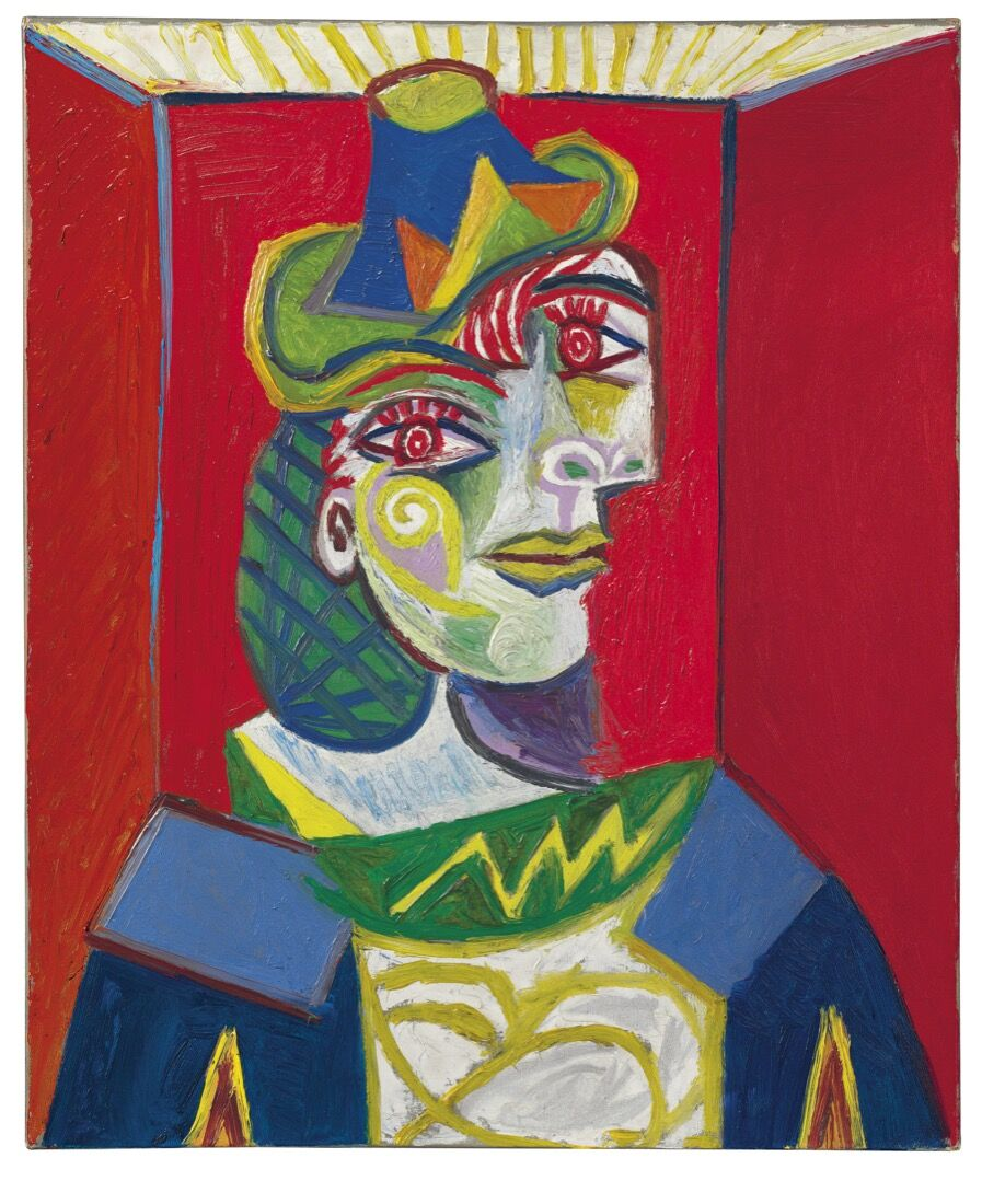 Pablo Picasso, Buste de femme (Femme à la résille), 1938. Price Realized: $67,365,000. Courtesy of Christie's Images ltd. 2015.