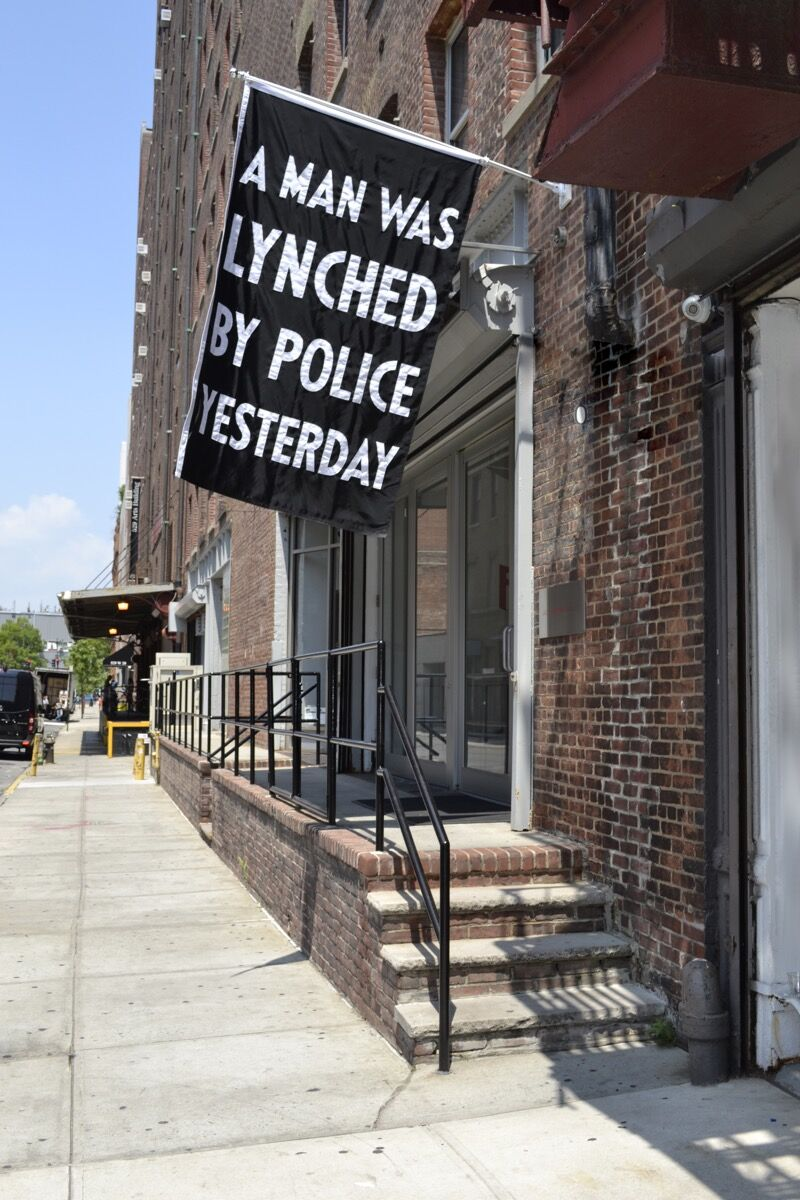 Dread Scott, A Man Was Lynched by Police Yesterday, 2015. ©Dread Scott.  Courtesy of the artist and Jack Shainman Gallery, New York.